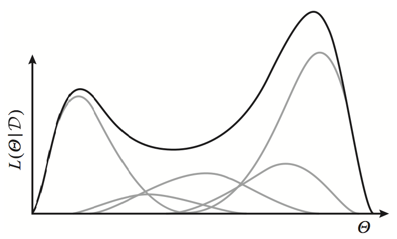 Exponential family distributions (gray lines) have concave log-likelihoods. However, a weighted mixture of such distributions is no longer concave (black line).